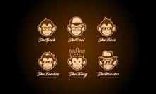 Monkey Head Logo Collection - Ape Face Vector Set
