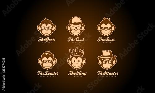 Naklejka premium Kolekcja logo głowy małpy - zestaw wektor twarz małpy