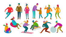 Set Of People. Winter Activity, Wintertime Concept. Cartoon Vector Illustration