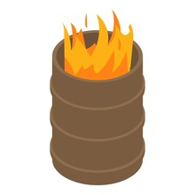 Fire Burning In Barrel Icon. I...