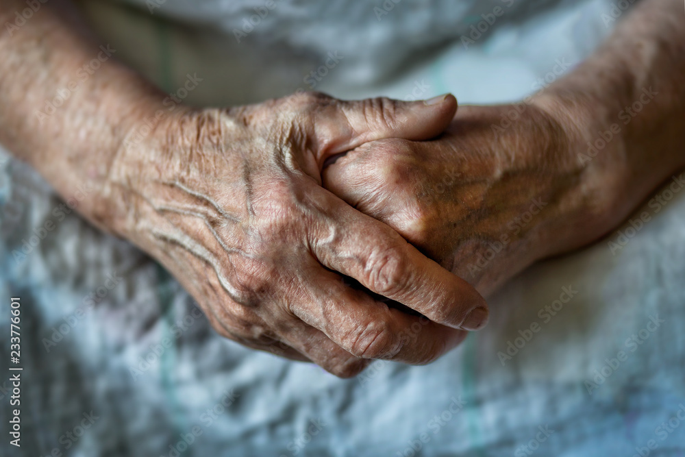Fototapeta Hands of an old woman folded one over the other. Elderly woman with folded hands. Hands of an old woman close up.