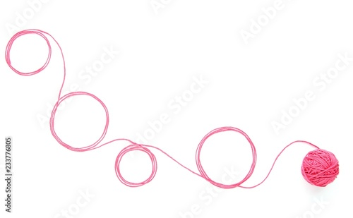Fotomural Abstract background with cotton thread circles and thread ball