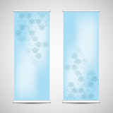 Roll up banner stands with abstract geometric background of hexagons pattern. Hi-tech digital background. Vector illustration for technological or scientific modern design.