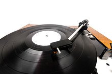 Close Up Of Vintage Turntable Vinyl Record Player Isolated On White