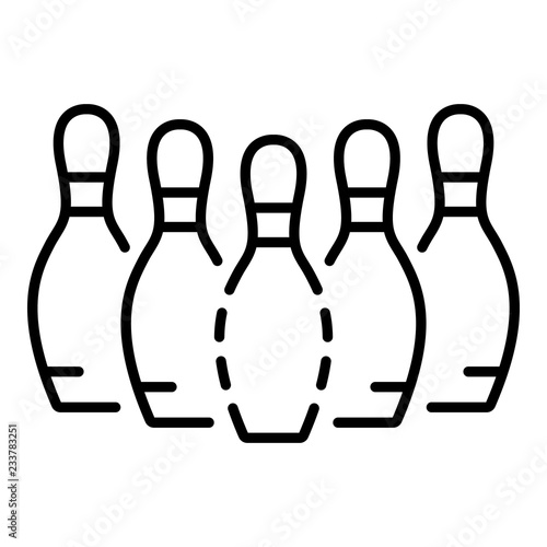 Bowling pins icon  Outline bowling pins vector icon for web