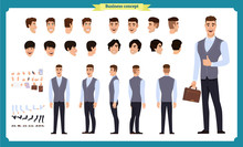 Business Casual Fashion. Front, Side, Back View Animated Character. Manager Character Constructor With Various Views, Hairstyles, Face Emotions, Poses And Gestures.flat Vector