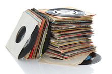 Pile Of Retro Vinyl 45rpm Sing...