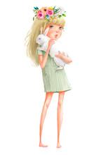 Cute Cartoon Girl With Hare