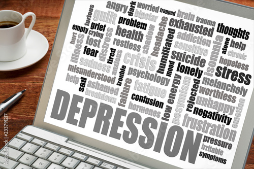 Fotografie, Tablou  depression word cloud on laptop with coffee