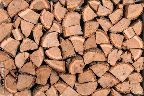 Wooden logs, beams, firewood. A lot of wood. Wooden log wooden background. Fuel. Harvesting firewood for the winter.
