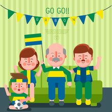 Happy Family Cheering Sport With National Flag : Gabon : Vector Illustration