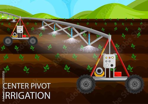 Fotografía  Center Pivot Irrigation. Vector Flat Illustration.