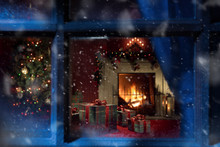 View Of Wrapped Gifts And Fire...