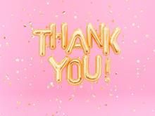 Thank You Text Gold Foil Ballo...