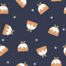 Seamless Pattern With Christmas Pudding And Holly Berries. Holiday Background. Vector Hand Drawn Illustration.