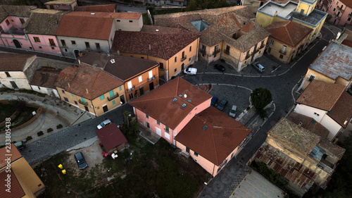 Aerial view at sunset of the small town of Montecalvo Irpino, in the province of Avellino, in Italy Wallpaper Mural