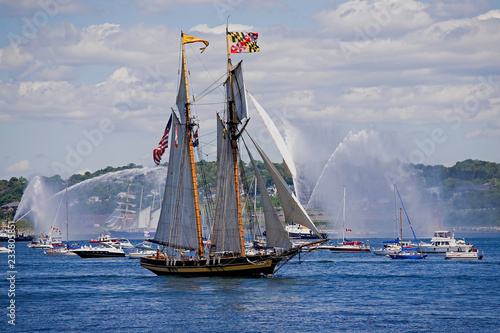 Photo HALIFAX, NOVA SCOTIA, CANADA - AUG 20, 2009: The Pride of Baltimore ll in Halifax Harbour during the Nova Scotia Tall Ships Festival