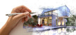 Leinwanddruck Bild - Hand drafting a white villa with pool
