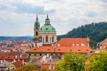 View Over Historic Center Of Prague, St. Nicholas Church, Red Roofs Of Prague,  Czech Republic