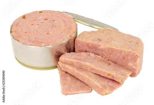 Cheap low quality processed canned ham meat isolated on a white background