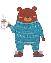 Cute Sleepy Bear In Pyjamas Wi...
