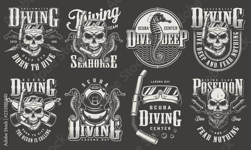 Vintage monochrome diver labels collection Wallpaper Mural