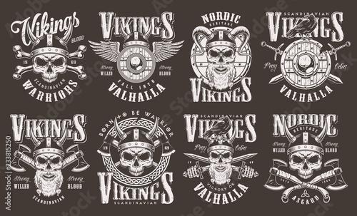 Fotografie, Obraz  Vintage viking emblems collection