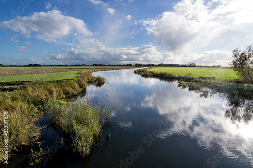 Dutch polder landscape in the province of Friesland Fototapeta