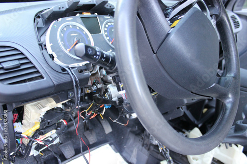 The dashboard of the car, the speedometer close-up Repair of