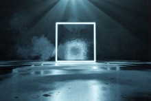 3d Rendering Of Blue Lighten Square Shape With Light Beam And Grunge Wall Background