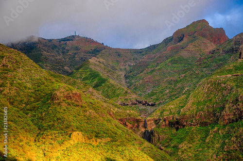 Foto op Plexiglas China Sunset in North-West mountains of Tenerife near Masca village, C
