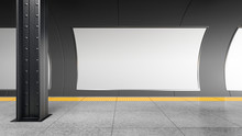 Blank Horizontal Big Poster On The Tube Station. Billboard Mockup In An Underground / Metro. 3D Rendering.