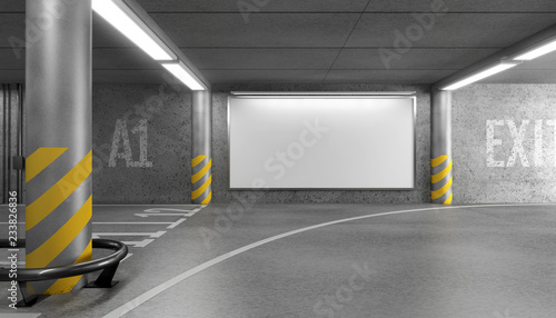 Fototapeta Blank horizontal big poster in an car parking garage under shopping center