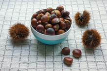 Raw Chestnuts In Shells And Roasted Chestnuts In A Bowl On A Checkered Background