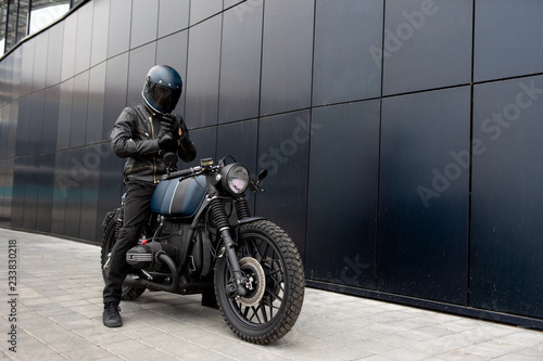 Photo Vintage rebuilt motorcycle motorbike caferacer