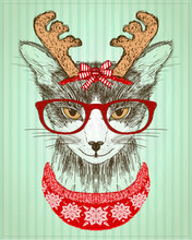 Hipster Cat Dressed In Red Glasses And Deer Horns Hat And Red Knitted Sweater