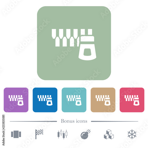Horizontal zipper flat icons on color rounded square backgrounds