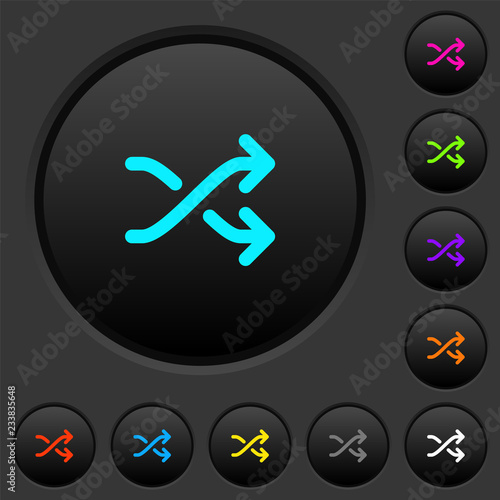 Fotografie, Obraz  Media shuffle dark push buttons with color icons