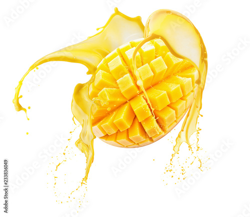 mango in juice splash isolated on a white background
