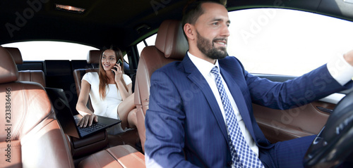 Photographie Business People Meeting Working Car Inside
