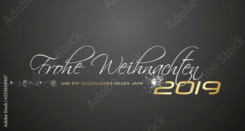 Foto  Merry Christmas and Happy New Year 2019 German language Frohe Weihnachten und ei