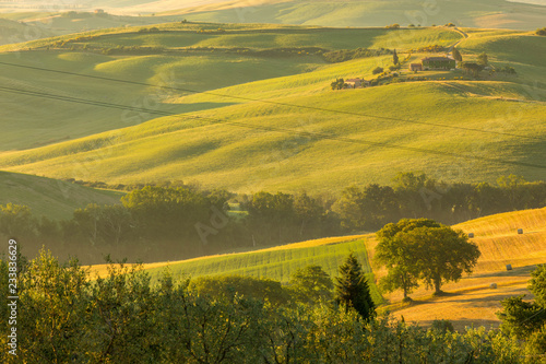 The lovely iconic landscapes of Tuscany in the morning sun