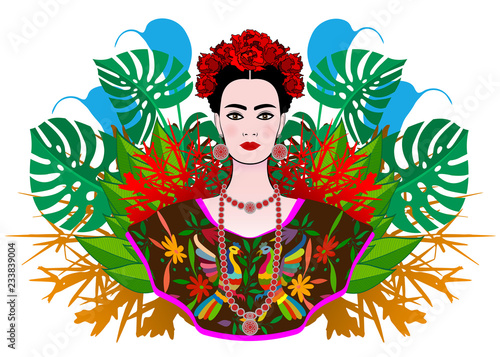 Carta da parati Portrait of the young beautiful Mexican woman with a traditional hairstyle