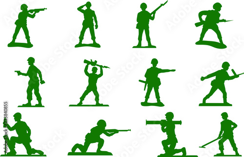 Toy green army men plastic soldiers vector cut file home decor printable wall ar Wallpaper Mural