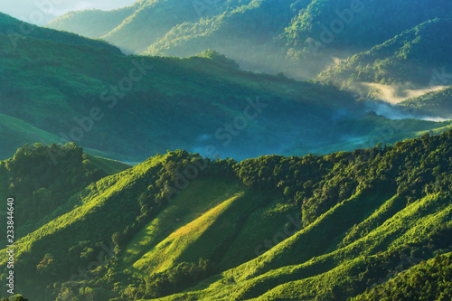 landscape of Mountain with Mist in Nan province Thailand
