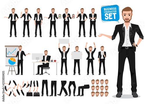 Fotografija Male business vector character set