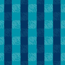 Seamless Vector Hand Drawn Holiday Gingham Inky Sketch In Turquoise, Blue, & White