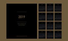 Premium Calendar Minimalist Planner 2019 Years Gold Color. Simple Minimal Wall Type Or Desktop Calendar Golden Template. Week Starts From Sunday. Vector Illustrator
