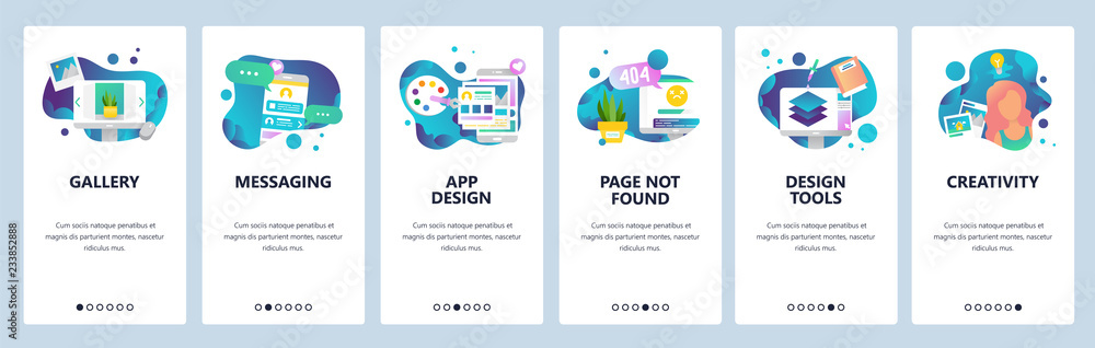 Fototapety, obrazy: Vector web site onboarding screens template. Design creative tools and software. Mobile online Messaging app and Page not found error. Menu banners for website and mobile app development. Modern