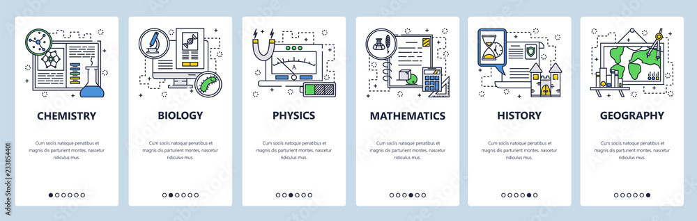 Fototapety, obrazy: Vector web site linear art onboarding screens template. School education subjects, chemistry, math, physics, biology, history, geography. Menu banners for website and mobile app development. Modern